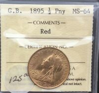 GREAT BRITAIN 1895  VICTORIA HALF PENNY  ICCS MS64 RED LUSTROUS WELL STRUCK COIN