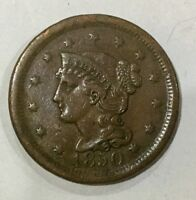 1850   LARGE CENT NICE PLEASING GRADE TYPE COIN EVEN BROWN COLOUR ORIGINAL