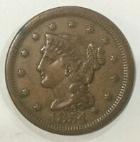 1854  LARGE CENT NICE MID  GRADE TYPE COIN EVEN BROWN COLOUR ORIGINAL