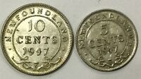1947  C NEWFOUNDLAND  5 CENT SILVER & TEN CENTS PAIR  FINAL YEAR NICE LOT