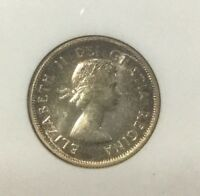 1957 CANADA PL66 OLD ANACS SMALL HOLDER   GEM 25 CENTS  SHARP COIN PQ TONING