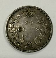 CANADA 1858 TWENTY  CENT PIECE DECENT  COIN MISSING N IN CENTS