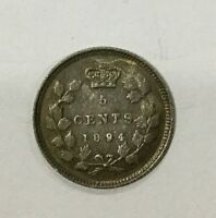 CANADA KEY DATE 1894  VICTORIA 5 CENTS SILVER NICE SHARP  COIN RETAINS LUSTRE B