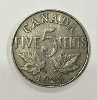 CANADA 1925  GEORGE V  KEY DATE NICKEL FIVE CENTS CIRCULATED