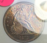 1872 SEATED LIBERTY SILVER DOLLAR. GRADED MS AND IS COLORFUL