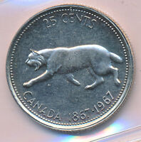 CANADA  25 CENTS 1967 NICKEL PATTERN DC 34 ICCS MS 64