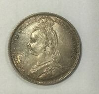 GREAT BRITAIN 1890  SIXPENCE 6 PENCE SILVER QUEEN VICTORIA NICE LUSTROUS