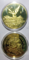 MEXICO EAGLE SNAKE GOLD PLATED 41MM MAGNETIC MEDAL PROOF UNC 1PCS