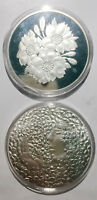 A GIRL IN THE FLOWERS SILVER PLATED 41MM MAGNETIC MEDAL  PROOF UNC 1PCS