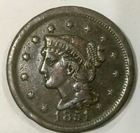 1851 LARGE  CENT  DECENT GRADE GLOSSY BROWN