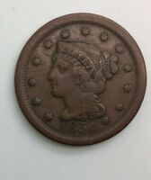1850 LARGE  CENT  DECENT GRADE COIN  NEVER CLEANED