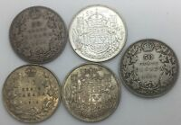 CANADA 5  DIFFERENT   DATE  FIFTY  CENT COINS 1914 1917 1918 1942 1944 NICE LOT