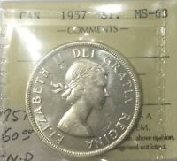 CANADA 1957 1 WATERLINE ICCS  MS63  NICE  WHITE ORIGINAL COIN