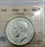 CANADA 1950 SHORT WATERLINES ICCS  MS63  SILVER DOLLAR GEORGE VI OLD 2 LETTER