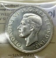 CANADA 1939 ICCS  MS64  SILVER DOLLAR GEORGE VI OLD 2 LETTER FLASHY LUSTRE