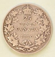 1910 CANADA QUARTER DOLLAR SILVER  5.8 GR 92.5  SILVER 7.5  COPPER  25 CENTS