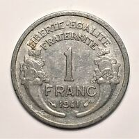1941 FRANCE FRANC KM 885A.1 ALUMINUM FIRST YEAR KEY DATE