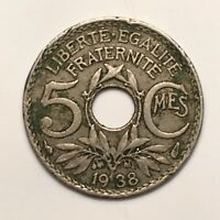 1938 FRANCE 5 CENTIMES  A LOVELY FRENCH CLASSIC