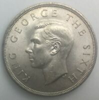 1949 NEW ZEALAND CROWN  GEORGE VI  NICE LIGHT  TONED COIN LOVELY SHARP EXAMPLE