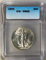 1944 CERTIFIED ICG MINT STATE 65 WALKING LIBERTY HALF DOLLAR SILVER 50 CENT COIN 088