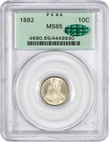 1882 10C PCGS/CAC MINT STATE 65 OGH OLD GREEN LABEL HOLDER - SEATED LIBERTY DIME
