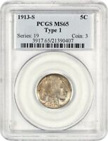 1913-S 5C PCGS MINT STATE 65 TYPE 1 LY TONED GEM - BUFFALO NICKEL