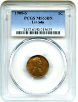 1909-S LINCOLN 1C PCGS MINT STATE 63 BN -  FIRST-YEAR ISSUE - LINCOLN CENT