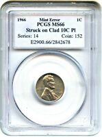 MINT ERROR: 1966 1C PCGS MINT STATE 66 RD STRUCK ON CLAD 10C PL - LINCOLN CENT