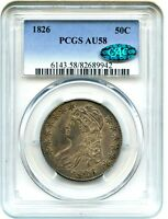 1826 50C PCGS/CAC AU58 - GREAT TYPE COIN - BUST HALF DOLLAR - GREAT TYPE COIN