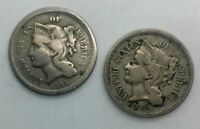 1865 & 1869 3 CENT NICKEL PAIR 2 DECENT COLLECTOR COINS