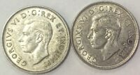 CANADA 2 COIN LOT OF NICE DIFFERENT   DATE  FIFTY  CENTS 1938 & 1939 SHARP COINS