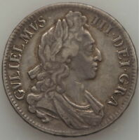 GREAT BRITAIN WILLIAM III CROWN 1696 KM494.1. SILVER COIN.