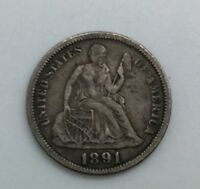 1891 P  DIME SHARP COIN NICE GREY COLOURATION LAST YEAR OF ISSUE