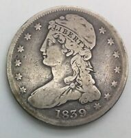 1839 BUST HALF DOLLAR  EARLY 50 CENTS DECENT LOWER GRADE REEDED EDGE  COIN