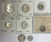 CANADA SILVER COIN LOT OF 10 PIECES 1954 TO 1968 10 CENTS TO 50 CENTS ELIZABETH