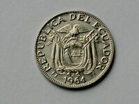 ECUADOR 1964 10 CENTAVOS COIN AU  TONED LUSTRE WITH COAT OF ARMS