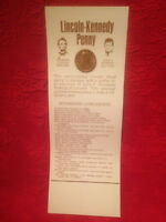 1973 D LINCOLN KENNEDY PENNY WITH STORY BOARD ASTONISHING COINCIDENCES NEW