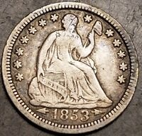 1853 LIBERTY SEATED HALF DIME WITH ARROWS .05C 90 SILVER NICKEL 5 CENTS