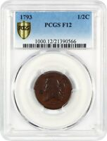 1793 1/2C PCGS F12 - WHOLESOME EARLY HALF CENT - HALF CENT