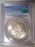 1891 CC SPITTING EAGLE TOP 100   PCGS MS64   CAC   SILVER MO