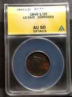 1849 BRAIDED HAIR HALF CENT - AU 50 ANACS - ALMOST UNCIRCULATED 50 DETAILS