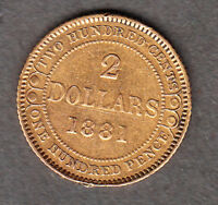 1881 2 DOLLARS NEWFOUNDLAND GOLD COIN   GREAT EXAMPLE FOR TY