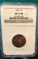 1865 NGC MINT STATE 63RB 2 CENT PIECE - REALLY  COIN