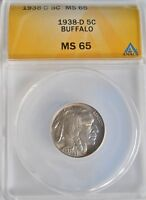 1938D ANACS MINT STATE 65 BUFFALO 5 CENT NICKEL SHIPS FREE INDIAN HEAD TYPE 2 COIN 310