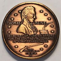 1968 THOMAS PAINE COMMEMORATIVE MADE BY YORK COIN CLUB INC. SO CALLED DOLLAR