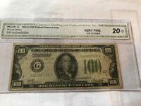 1928 $100 FEDERAL RESERVENOTE-CHICAGO-WOODS/MELLON-GREEN SEAL-REDEEMABLE IN GOLD
