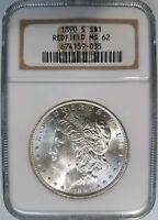 1890 S MORGAN SILVER DOLLAR NGC MINT STATE 62 REDFIELD COLLECTION HOARD PEDIGREE COIN