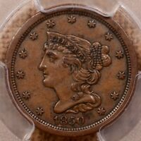 1850 BETTER DATE BRAIDED HAIR HALF CENT, PCGS EXTRA FINE 45,     DAVIDKAHNCOINS