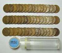 1931 P LINCOLN CENT / WHEAT CENT ROLL OF 50 AVERAGE CIRCULATED GOOD PENNIES