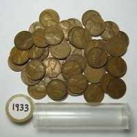 1933 P LINCOLN CENT / WHEAT CENT ROLL OF 50 AVERAGE CIRCULATED GOOD PENNIES